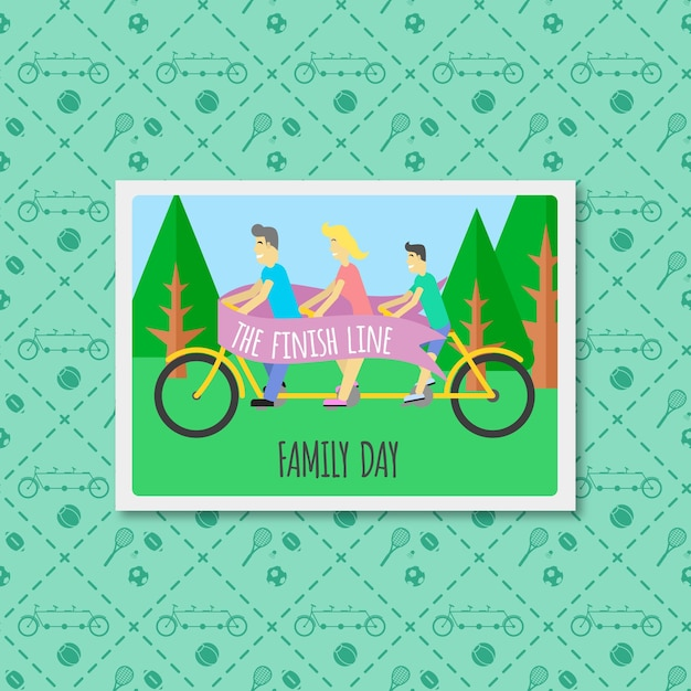 Nice family with a bike flat picture