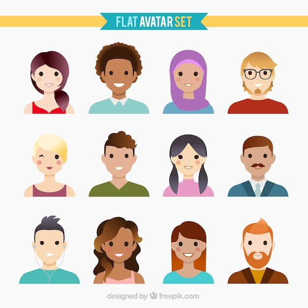 Nice flat avatar collection Free Vector