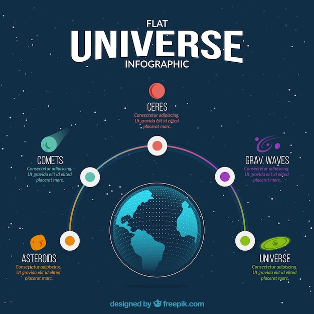 Nice flat infographics about the universe Free Vector
