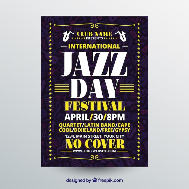 Nice flat poster for international jazz day Free Vector