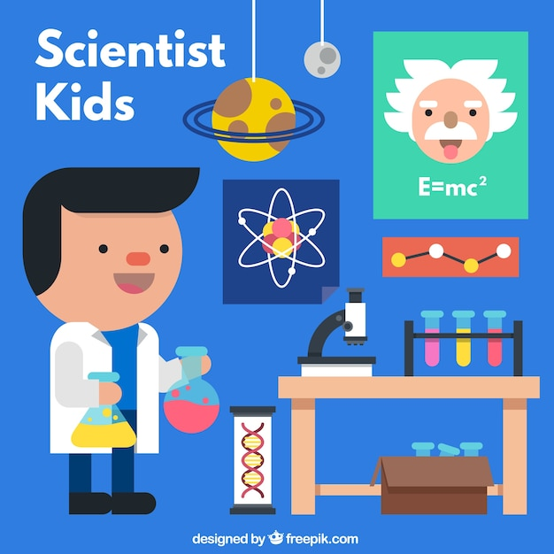 Nice flat scientist in a laboratory Free Vector