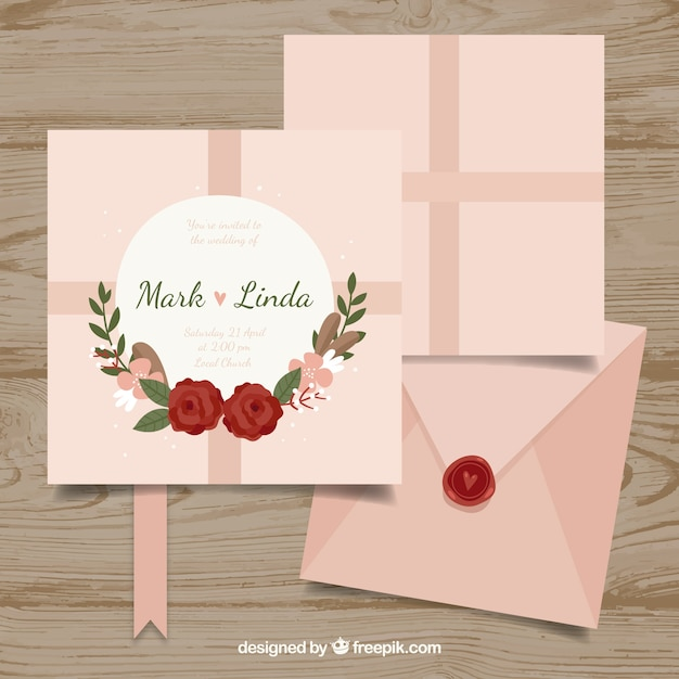 Nice flat wedding invitation with an envelope vector free download nice flat wedding invitation with an envelope free vector stopboris Gallery
