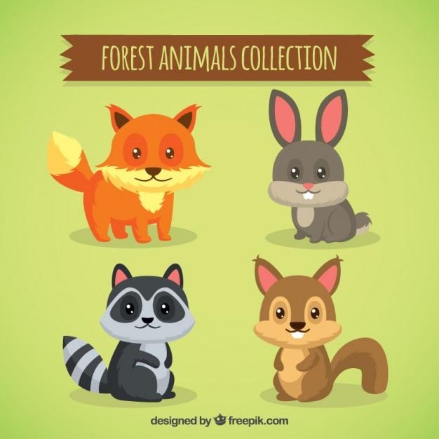 Хорошие лесные животные с прекрасными глазами Premium векторы