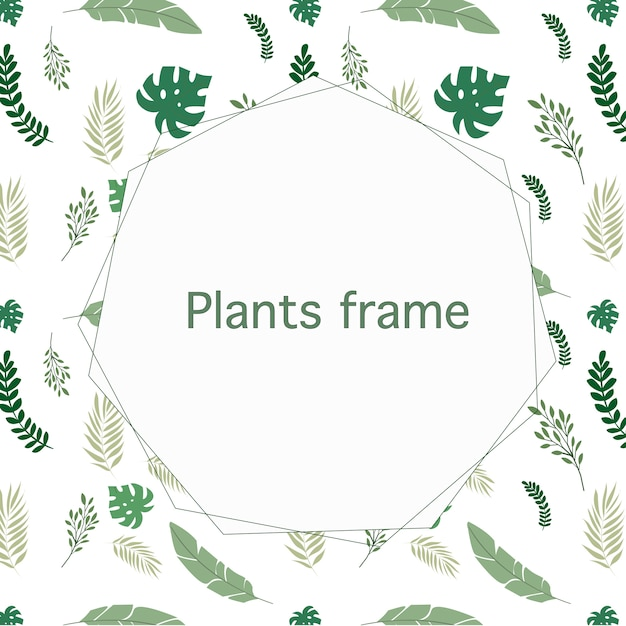 Nice frame with copyspace in the center and beautiful green plants Free Vector
