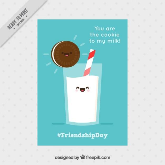 کارت دوستی خوب با یک کوکی و شیر