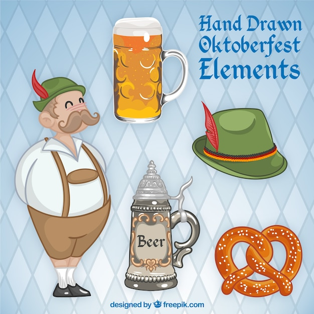 Nice german with elements oktoberfest Free Vector