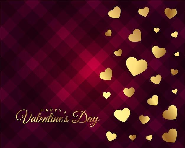 Дизайн карты дня святого валентина с красивыми золотыми сердечками Бесплатные векторы