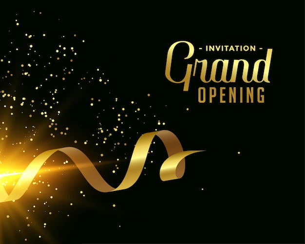 Nice grand opening card design in golden theme Free Vector