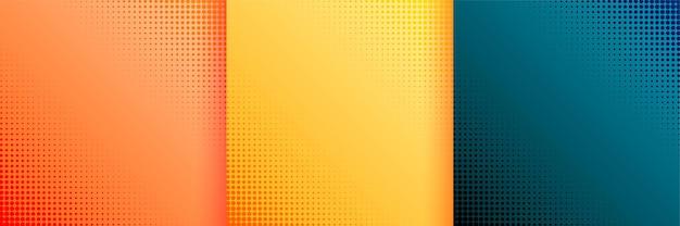 Красивые полутоновые обои фон набор из трех Бесплатные векторы