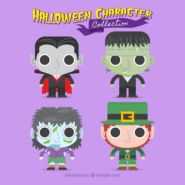 Nice halloween characters Free Vector