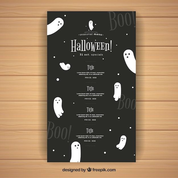 Nice halloween menu with ghosts Free Vector