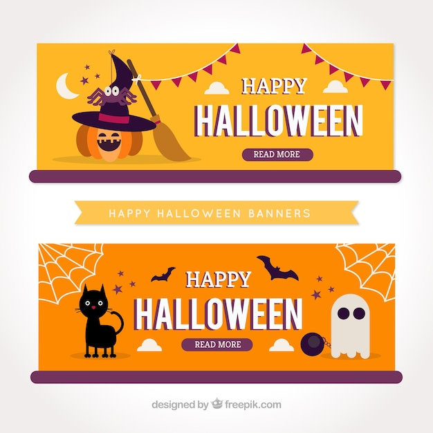 nice halloween party banners free vector