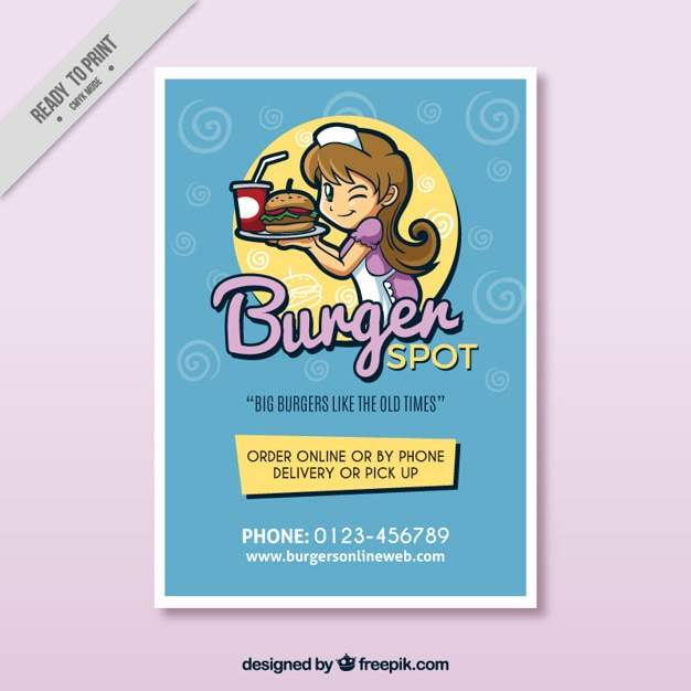 Nice hamburger brochure Free Vector
