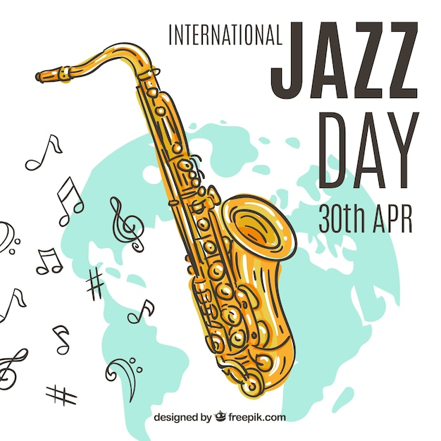 Nice hand drawn background for international jazz day Free Vector