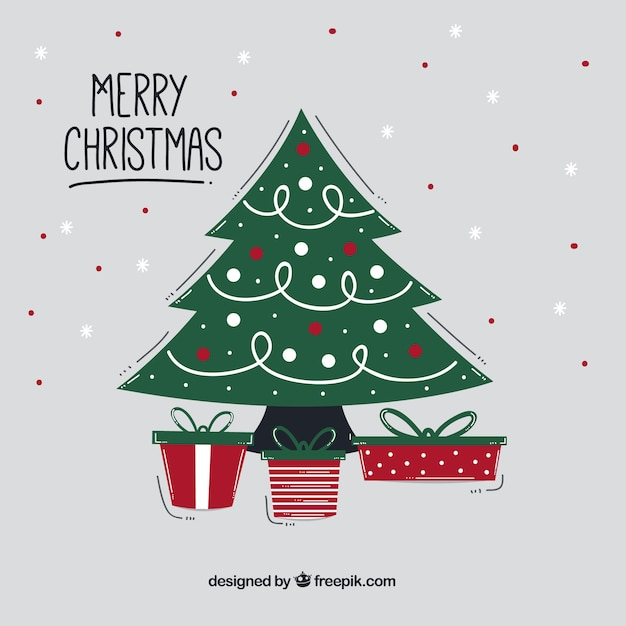 Nice hand drawn background with a christmas tree