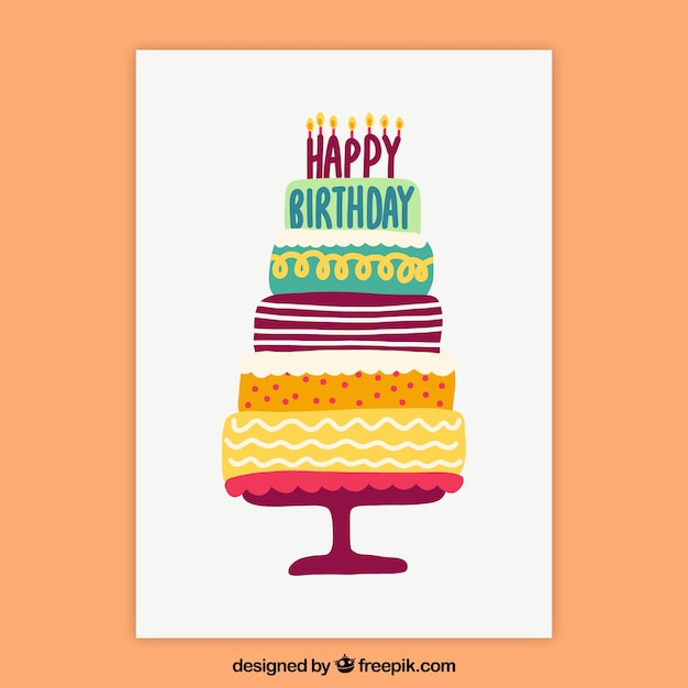 Nice hand drawn birthday card with a cake Vector Free Download