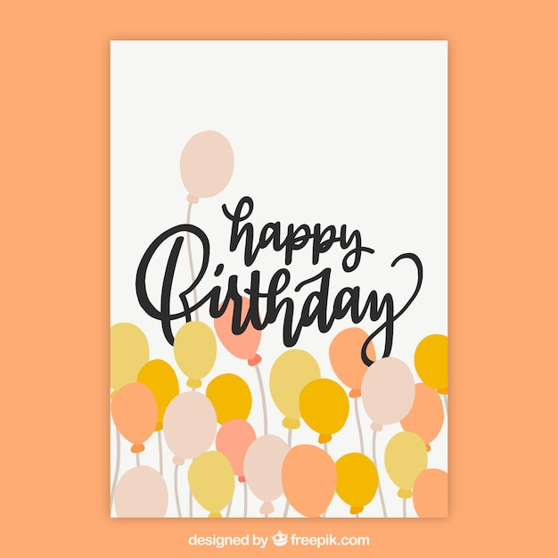 Nice hand drawn birthday card with yellow and orange balloons Free Vector