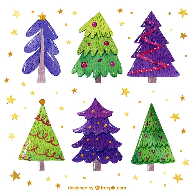 Nice hand drawn christmas trees