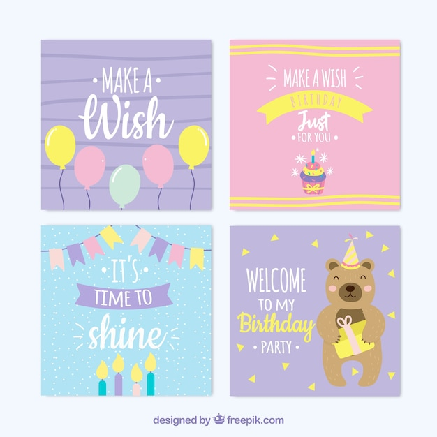 Nice Hand Drawn Colourful Birthday Cards Free Vector