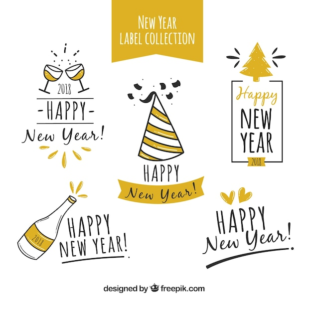 nice hand drawn labels happy new year stock images page everypixel