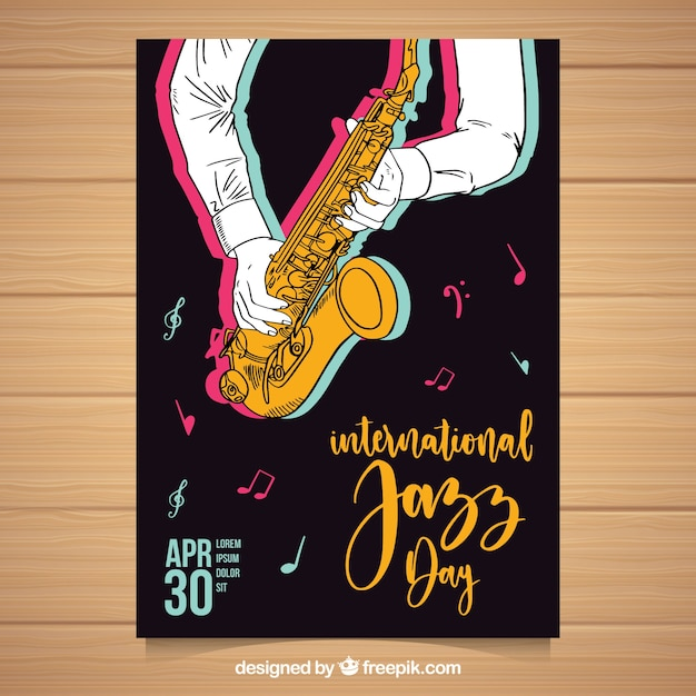Nice hand drawn poster for international jazz day Free Vector