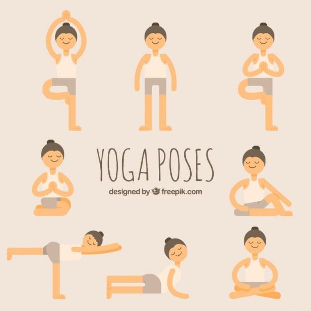 Nizza disegnata a mano yoga set Vettore gratuito