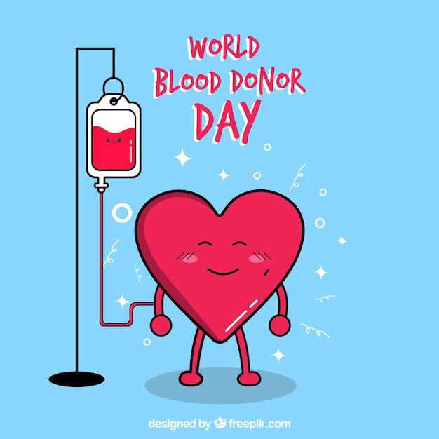 Nice heart background donating blood Premium Vector