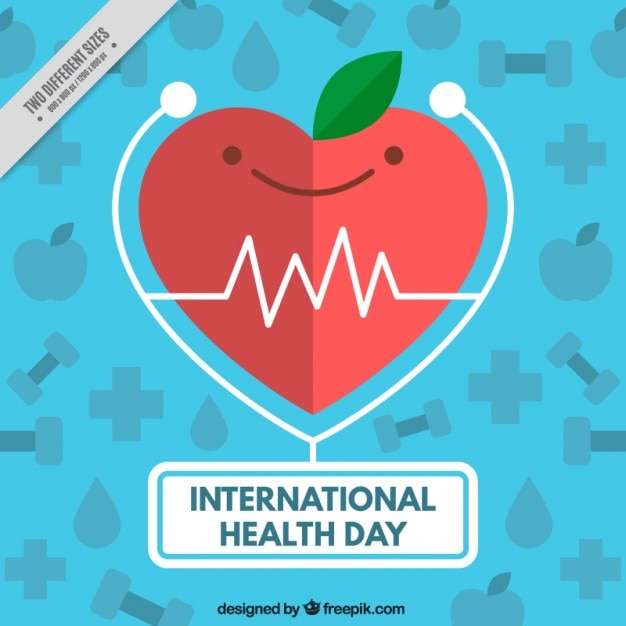 Nice heart with apple appearance medical background Free Vector