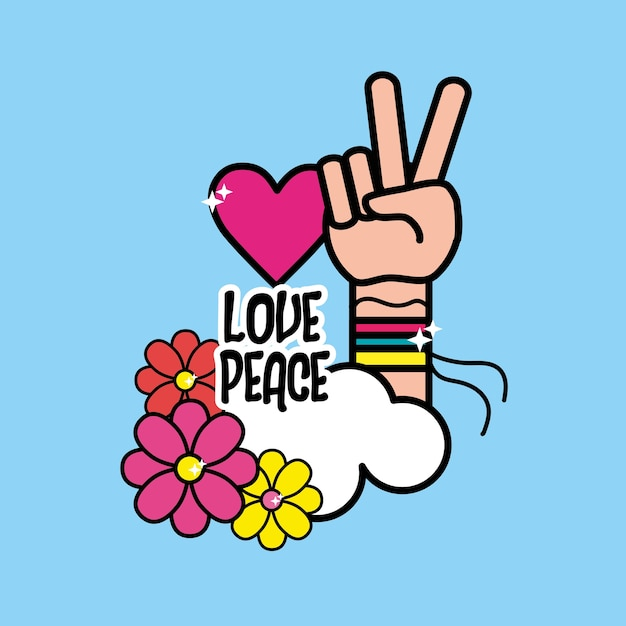 Nice Hippie Symbol With Hand Of Peace And Love Vector Premium Download