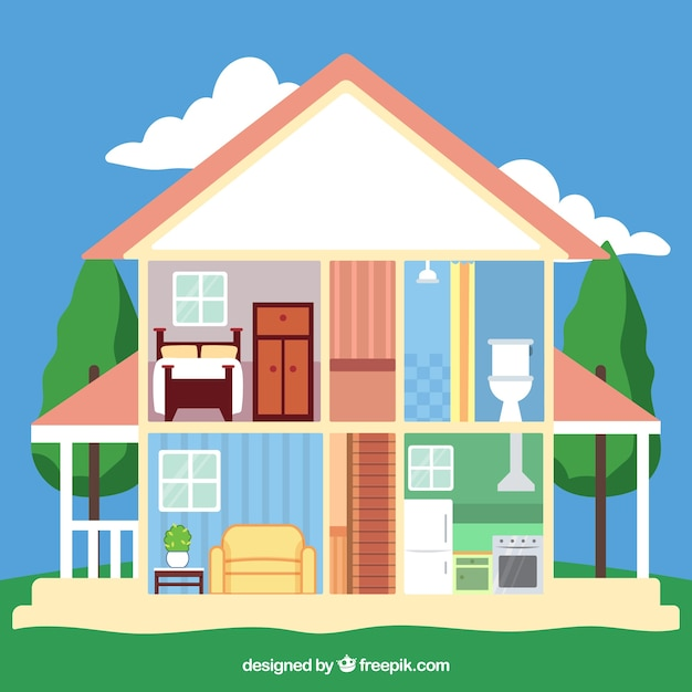Nice house with interior view of the rooms vector free for Nice home image