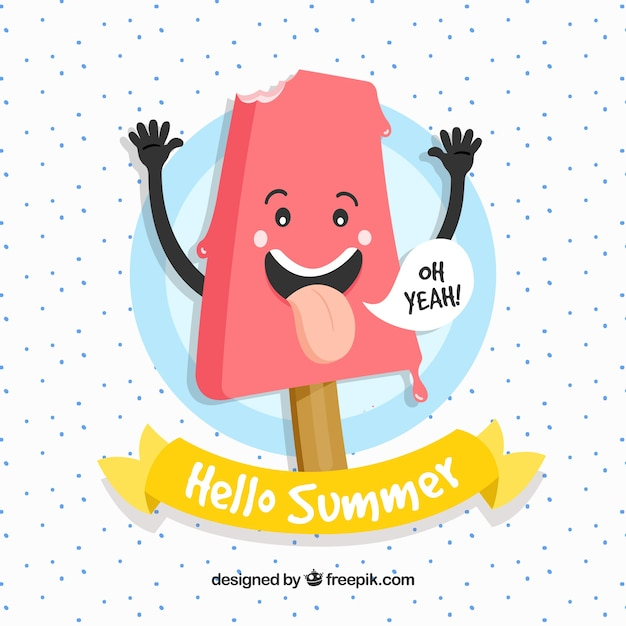 Background Of Cute Ice Cream With Phrase Vector: Nice Ice Cream Character Background Vector