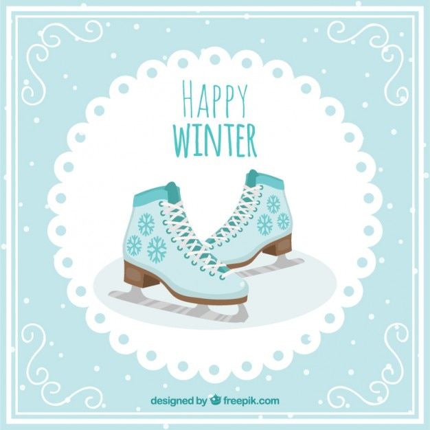 Nice ice skating card Premium Vector