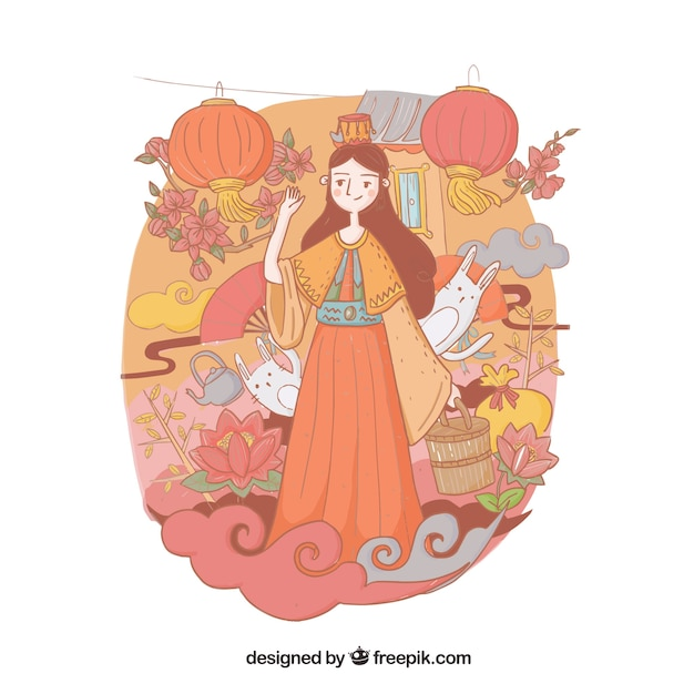 Nice illustration, mid autumn festival Free Vector
