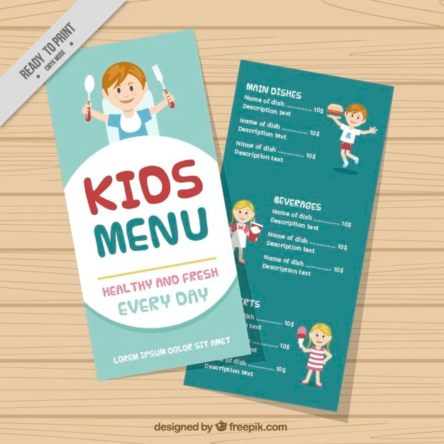 Nice Kids Menu Template Free Vector  Free Kids Menu Templates