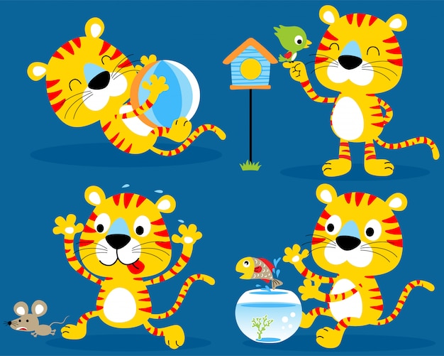 Nice kitten set cartoon Premium Vector