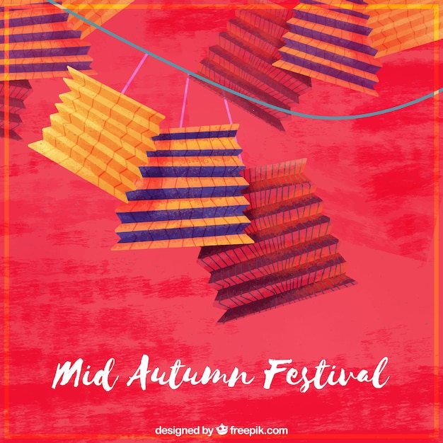 Nice lanterns on a red background, mid autumn festival