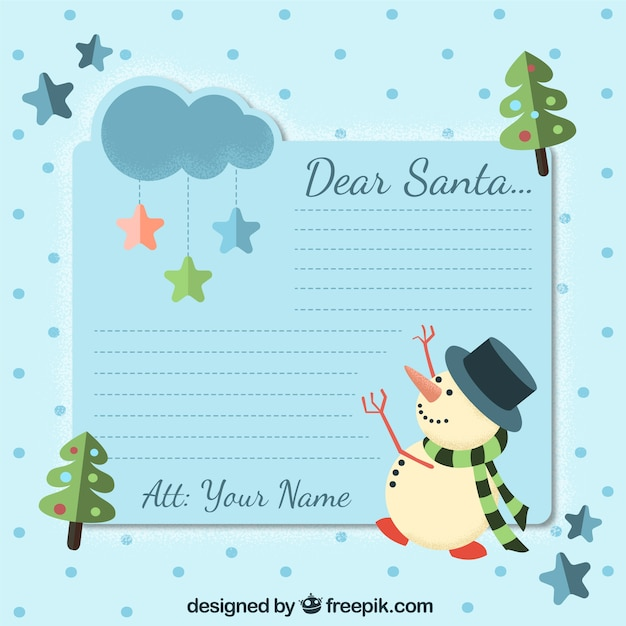 Nice letter for santa claus with snowman