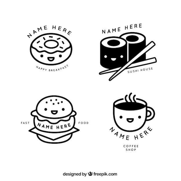 Nice Lineal Restaurant And Coffee Shop Logos Vector