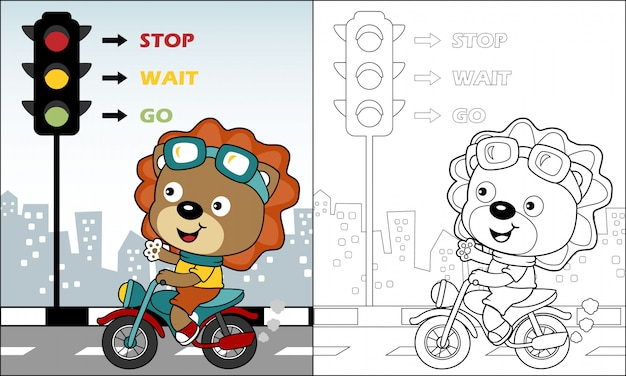 Nice lion cartoon riding motorcycle in the road Premium Vector
