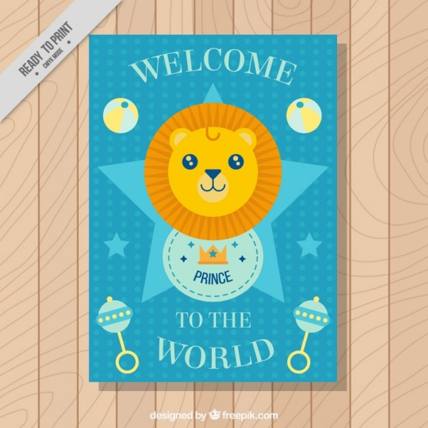 Nice little lion baby shower card