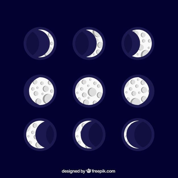 Nice lunar calendar in flat design Free Vector