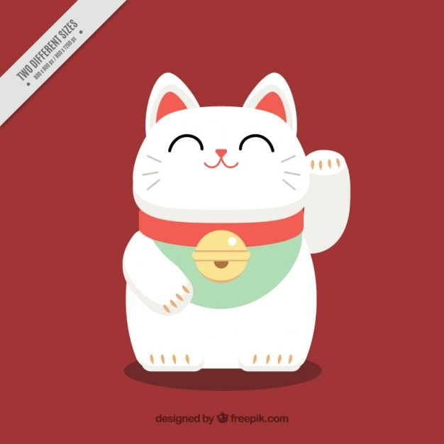 Nice maneki-neko japanese background Free Vector