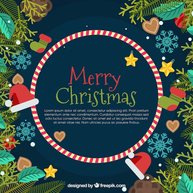 Nice merry christmas background in flat design Vector | Free Download