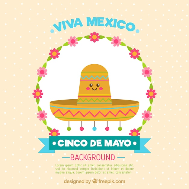 Nice mexican hat background Free Vector