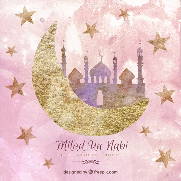 Nice milad un nabi card in hand painted style Free Vector