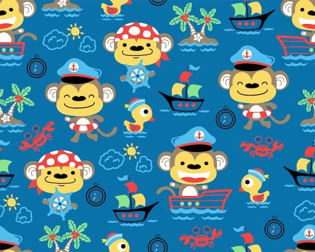 Nice monkeys cartoon on seamless pattern vector Premium Vector