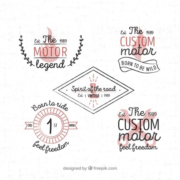 Nice motorcycle badges in vintage style