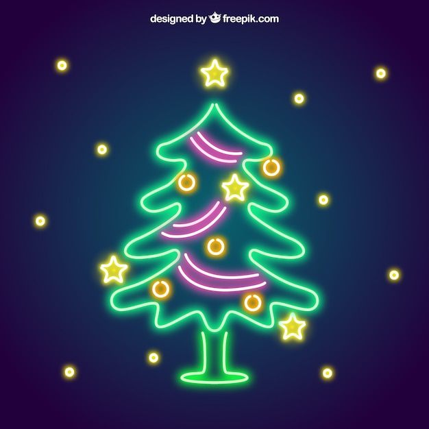 Nice neon christmas tree