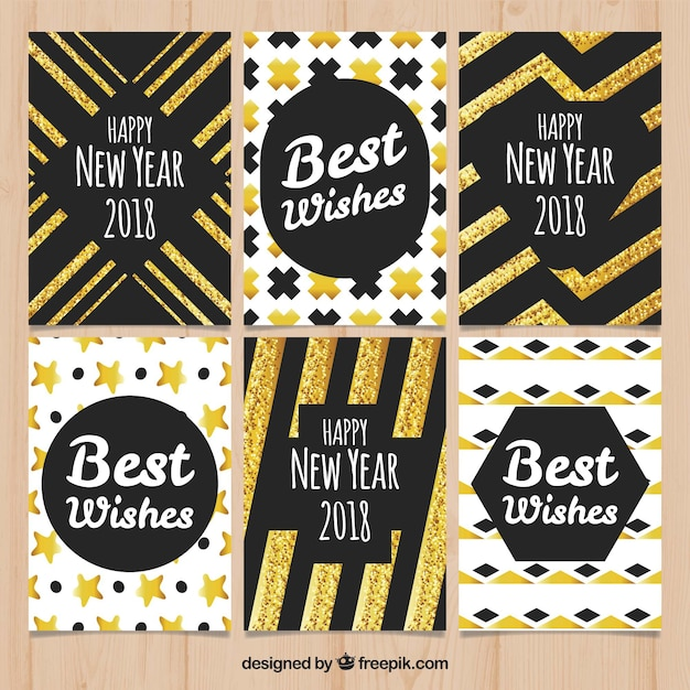 Nice new year collection of greeting cards with golden elements