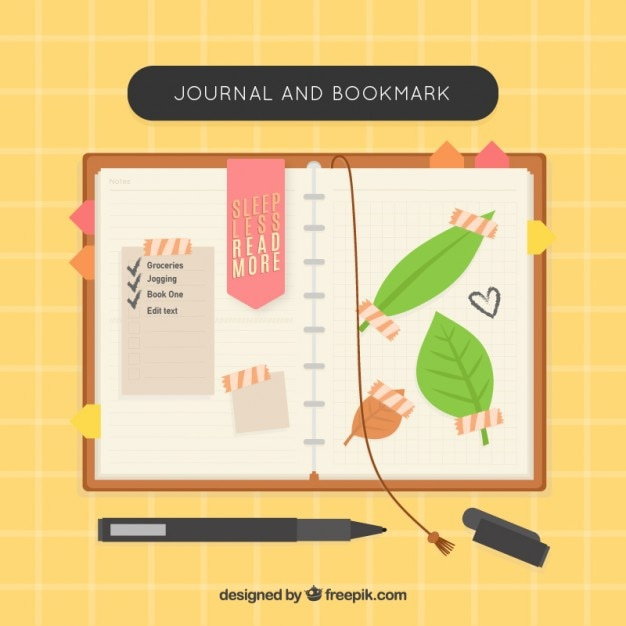 Nice notebook with bookmarks and leaves Free Vector
